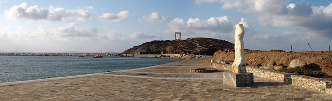 Panoramic photo of «Ariadne on Naxos» with the Portara of Naxos at the background.